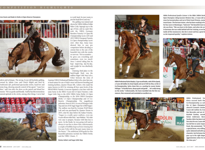 NRHA Reiner 2017 July issue – Markus Gebert & Sugar Little Step on it!